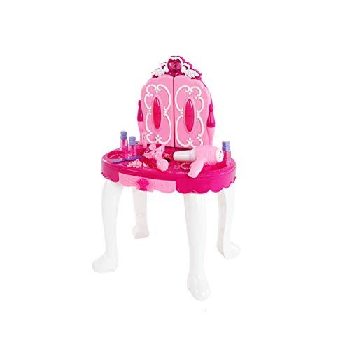 YORKING Schminktisch mit Kosmetikspiegel und funktionierendem Haartrockner Kinder Frisiertisch mit Hocker für Kinder Schönheitsstudio