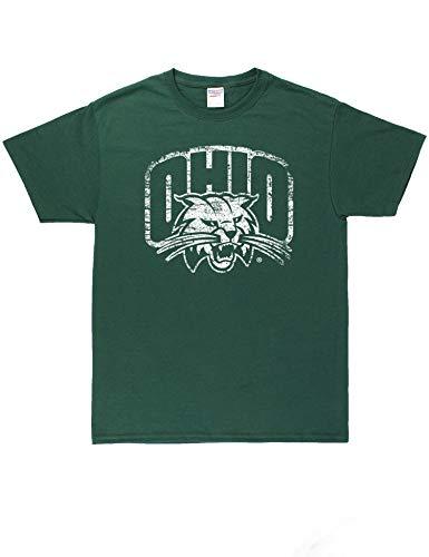 B-Wear Sportswear Ohio University Bobcats Logo Short Sleeve Graphic Printed T-Shirt Tee Forest Green