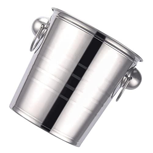 YARNOW Cubo de Hielo Aislado de Acero Inoxidable Cubo de Hielo para Bebidas Fiesta Cerveza Champán Y Vino Plata 3L