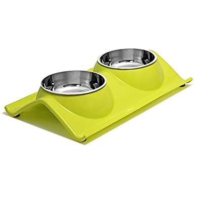 UPSKY Double Dog Cat Bowls Premium Stainless Steel Pet Bowls No-Spill Resin Station, Food Water Feeder Cats Small Dogs (Green Tea)