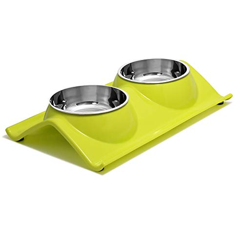 best splash-proof cat water bowl - UPSKY Double Dog Cat Bowls Premium Stainless Steel Pet Bowls No-Spill Resin Station
