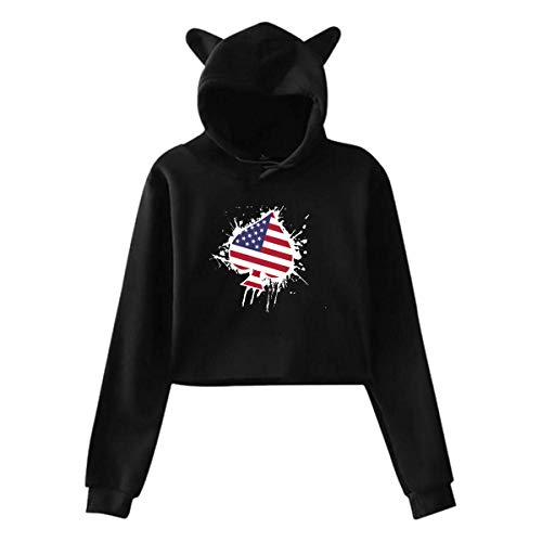 WLQP Camiseta sin Mangas para Hombre Womens Cute Cat Ear Hoodie Sweatshirts American Flag Spades Ace Poker Midriff-Baring Hooded Pullover
