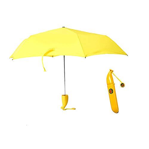 KOPOU Jolis parapluies banane et parasol, UV et coupe-vent 3 plis avec 6 baleines pliables, cadeau idéal pour les enfants et les filles - Jaune -