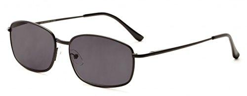 +2.25 Metall Schwarz Lesebrille Sonnenbrille 100% UV-Schutz Getönte Gläser, Männer Retro Vintage Zeitlos + Fall