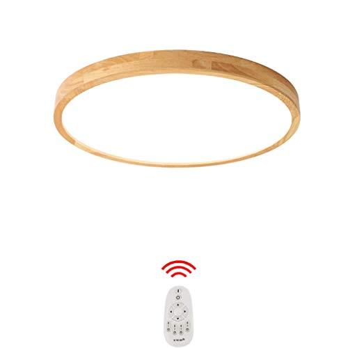 Ultradünne Deckenleuchte Holz LED runde Deckenlampe Dimmbar Decken Schlafzimmer leuchte mit Fernbedienung Bad Deckenleuchten Vintage Rustikal Zimmerlampe Küchenlampe Flur Innenbeleuchtung(Ø40CM—24W)