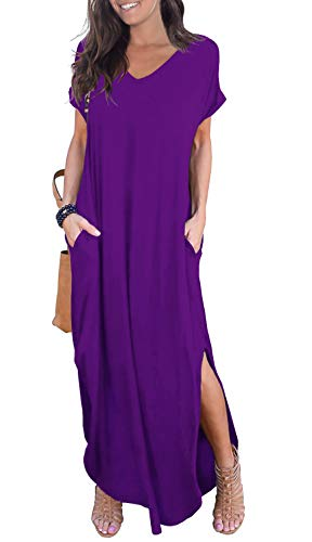 GRECERELLE Womens Casual V Neck Side Split Beach Long Maxi Dress Purple Medium