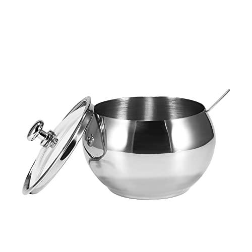 EASONGEE - Elegante dispenser per sale e pepe, in acciaio inox, con vassoio e cucchiai, comodi contenitori per condimenti per la cucina domestica
