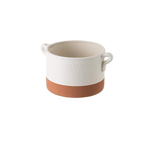 Macetero con Asas Grande de cerámica Terracota rústico, de 21x16x11 cm - LOLAhome