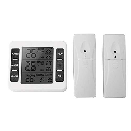 Termómetro inalámbrico para interior y exterior con sensor + 2, medidor de temperatura digital LCD para el aire acondicionado, hotel, hospital, laboratorio, blanco