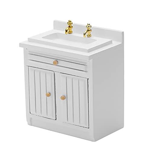 YOURPAI Puppenhaus-Spielset, Maßstab 1:12, Miniatur-Küchenschrank-Set, Puppenhaus-Möbel, realistische Küchenmöbel, Mädchen, Spielzeug, interaktives DIY-Kit, weiß