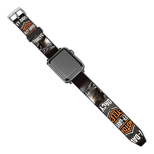 Correa de piel para reloj de Harley Davidson compatible con Apple Watch Band de 38 mm, 40 mm, 42 mm, 44 mm, suave cuero deportivo elastics correa compatible con iWatch Series SE 5/4/3/2/1