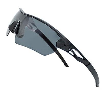 Polarized Sports Sunglasses For Men - Cycling Driving Fishing climbing Golfing 100% UV Protection (black, 70)