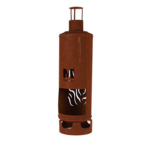 RM Design Gartenkamin Gasflasche rostig Ø28 cm Durchmesser Deko für Ihren Garten