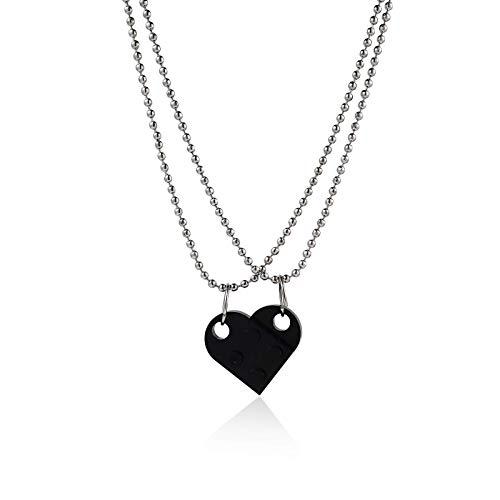 Cute Love Heart Brick Pendant Collana per coppie Amicizia Donne da uomo Ragazza Ragazzo Elementi Regalo dei gioielli di San Valentino Collana cuore di mattoni