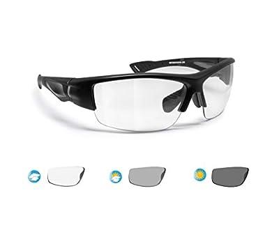 Bertoni Polarized Sport Sunglasses Photochromic Men Women Cycling Running Fishing Golf 1001 (Matt Black - Photochromic Lenses)