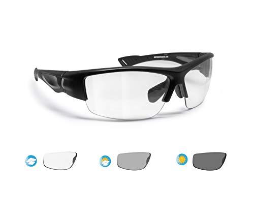 BERTONI Photochrome Polarisierte Sportbrille Selbsttönend Herren Damen für Radfahren Skilaufen Golf Laufen Angeln (Schwarz - Selbsttönend)