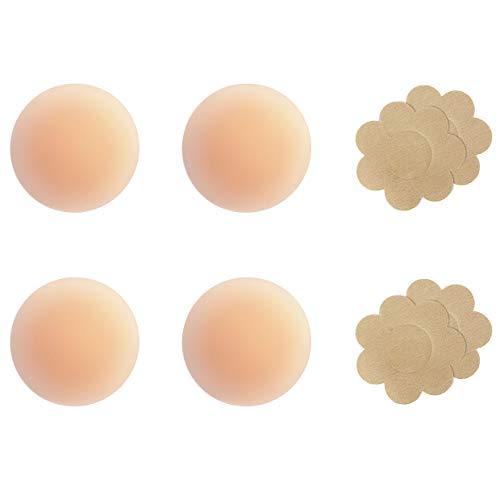 Gmumu® Ultra Dünne Damen Nippel Covers Wiederverwendbar und Selbstklebende Nippel Abdeckungen aus Silikon Aufkleber Nippelabdeckungen - Rund, 2 Paar