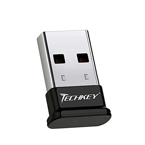 Bluetooth Adapter for PC USB Bluetooth Dongle 4.0 EDR Receiver Techkey Wireless Transfer for Stereo Headphones Laptop Windows 10, 8.1, 8, 7, Raspberry Pi