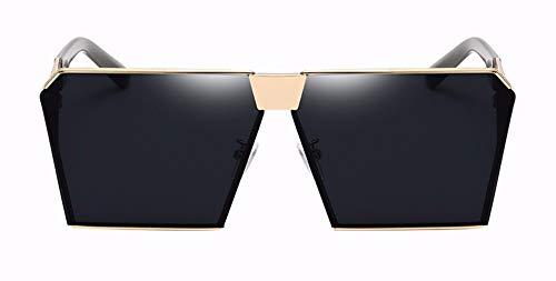 WSKPE Sonnenbrille Marke Design Damen Große Quadratische Sonnenbrille Frauen/Männer Oben Flach Rahmenlose Spiegel Schattierungen Weiblichen Uv400 (Gold Gestell Schwarz Objektiv)