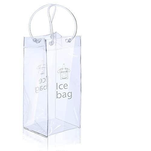 CHUANGFU Bolsa De Hielo, 5 Piezas Botella De Champán De Vino Transparente De PVC Bolsa Fría Bolsa A Prueba De Fugas Bolsa Más Fresca con Asa para Pubs Y Restaurantes, Hogar, Etc.
