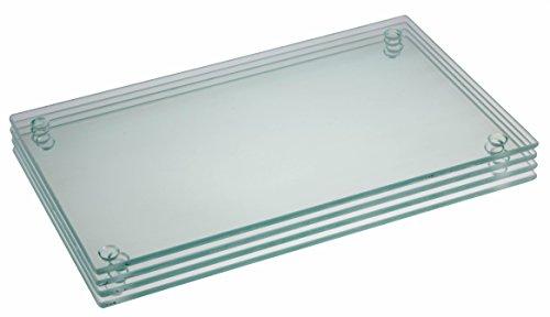 Clever Chef - Lot de 4 planches à découper en verre - rectangulaires/antidérapantes/solides - résistent aux chocs/taches - peuvent être mises au lave-vaisselle - blanc - 24,7 x 15,2 cm