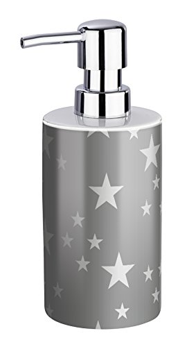 WENKO Seifenspender Stella - Flüssigseifen-Spender, Spülmittel-Spender Fassungsvermögen: 0,38 l, Keramik, 8,5 x 18 x 7 cm, grau