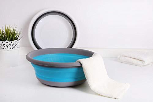 Alberta Folding Tragbarer Basin Faltbare Reise-Camping Outdoor Angeln Waschen von Gemüse Obst Kitchen Sink Organizer Heim Washtub-Weiß Kleine (Color : Blue Small)