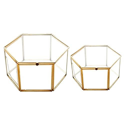 ZHUSHI 2 UNIDS Geométrico Caja De Vidrio Caja De Joyería Joyería Organiza Tenedor Tablero Suculento Plantas Contenedor Almacenamiento para El Hogar