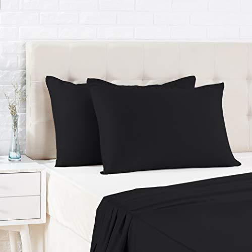 Amazon Basics - Funda de almohada de satén - 40 x 80 cm x 2, Negro