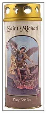 St. Michael kaars 68 uur branden gebed Saint katholieke 15cm wit winddicht