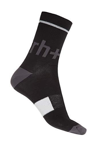 rh+ Zero Merino Sock 15, Unisex Adulto, Nero/Dark Grey, S/M