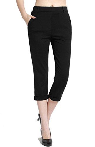 BodiLove Women's Pull On Performance Formal Dress Capri Pants Black M
