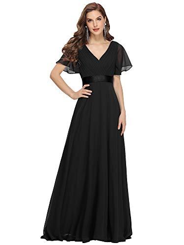 Ever-Pretty Vestito da Sera Donna Stile Impero Linea ad A Scollo a V Maniche Corte Lungo Nero 54