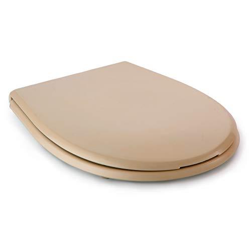 Tatay Asiento WC en Material termoplástico, Gran Resistencia a los Impactos, reciclable y de Larga duración. Color Beige, Acabado Brillante.