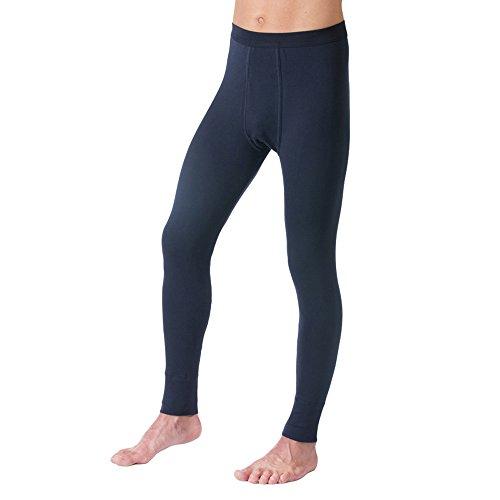 HERMKO 3540 Herren Lange Unterhosen mit Eingriff und Weichbund aus 100% Bio-Baumwolle in Feinripp, Größe:D 5 = EU M, Farbe:Marine
