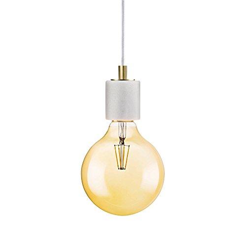 LED Hängeleuchte im nordischen Design aus weißem Marmor & Messing inkl. LED E27 Retro Glühbirne 650 Lumen OSRAM 7W warmweiß
