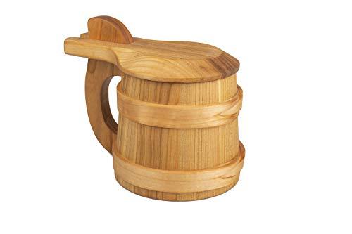 PlatanRoom Boccale in legno di rovere vichingo con coperchio Boccale da birra in legno 0,5 l – Boccale da birra da uomo regalo per gli amanti della birra