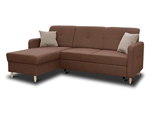 Ecksofa Oslo mit Schlaffunktion und Bettkasten - Scandinavian Design Couch, Sofagarnitur, Couchgarnitur, Polsterecke, Holzfüße (Braun (Inari 24 + Inari 26), Ecksofa Links)