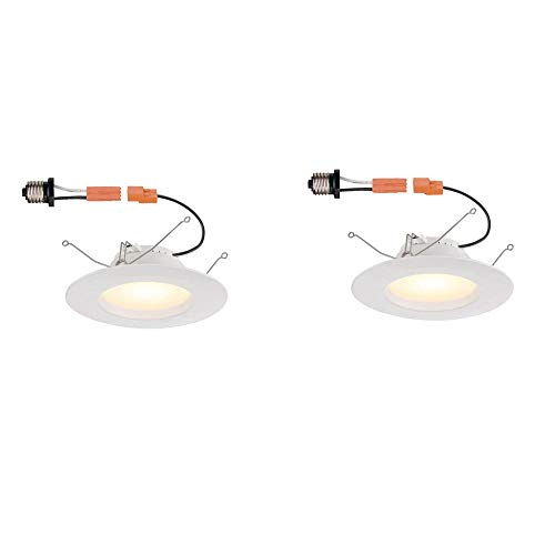 Commercial Electric 5 in. and 6 in. White Integrated LED Recessed Trim, 2700K (2-Pack)