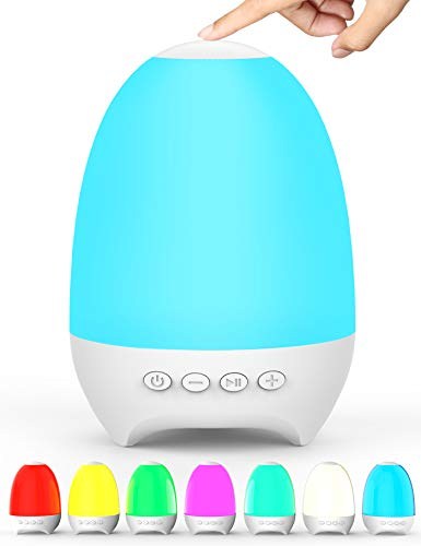 Aoboco Night Light Bluetooth Speaker, Touch Control 7-Color Themes Bedside Table Lamp, Rechargeable LED Lamp High Fidelity Stereo Sound Speaker, Best Gift for Adult, Teens, Kids, Boys and Girls