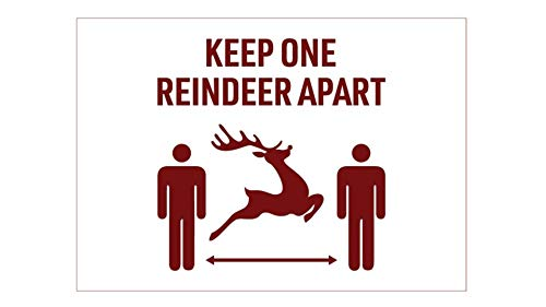 Covid Christmas Sign Social Distance Sign for Business Covid 19 Signs for Businesses 7 x 10 Adhesive Removable Vinyl Keep One Reindeer Apart Covid Sign for Business Church School Home Office Work