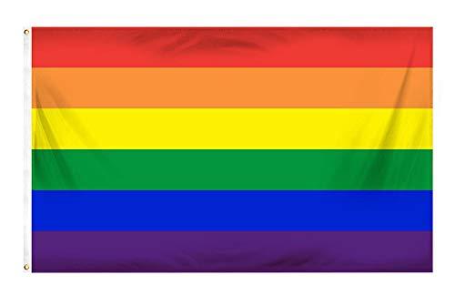 Fontee® [Gay Pride Flagge [90X150 cm] [Lebendige Farbe] [UV-lichtbeständig] [Leinwandkopf] [Doppelt genäht] [Dicke Messingösen] [Regenbogenfahne]