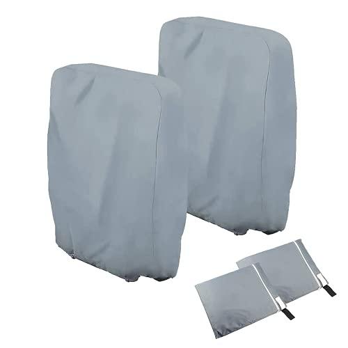 Viilich Klappstühle Abdeckung,2 Stück Gartenstühle Schutzhülle Winddicht Anti-UV Wasserdicht für Liegestuhl Faltstuhl Konferenzstuhl Deckchair Klappbar Gartenmöbel,mit Tragetasche (Grau)