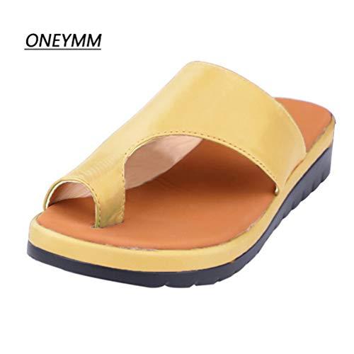ONEYMM Sandalias cómodas para Mujeres Corrector de juanetes de Verano Zapatos de deformación ortopédicos Semi-Antideslizantes Zapatos para enderezar los pies Zapatos,Dorado,43