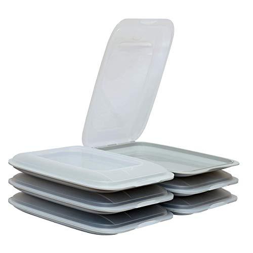 ENGELLAND - Hochwertige stapelbare Aufschnitt-Boxen, Frischhaltedose für Aufschnitt. Wurst Behälter. Perfekte Ordnung im Kühlschrank, 6 Stück Farbe Grau, Maße 25 x 17 x 3.3 cm