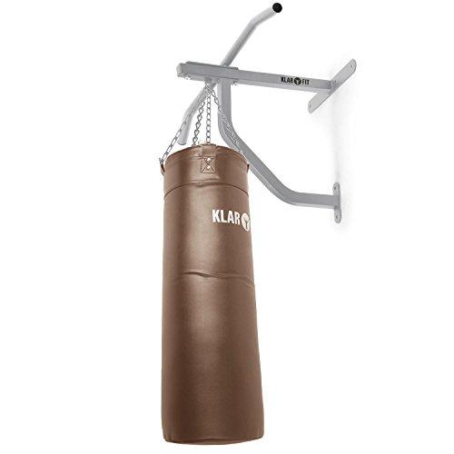 KLAR FIT Big Punch Saco de Boxeo y Barra de dominadas - Entrenamiento Multifuncional, Gimnasio en casa, Mosquetón para Saco, Zona de Impacto 80x30cm, Carga máx. 350kg, Set de Montaje, Marrón