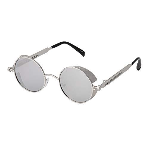 Ultra Silber Steampunk Stil Runde Sonnebrille für Herren und Frauen UV400-Schutz Retro Cyber Goggles Metall Rand Gothic Punk
