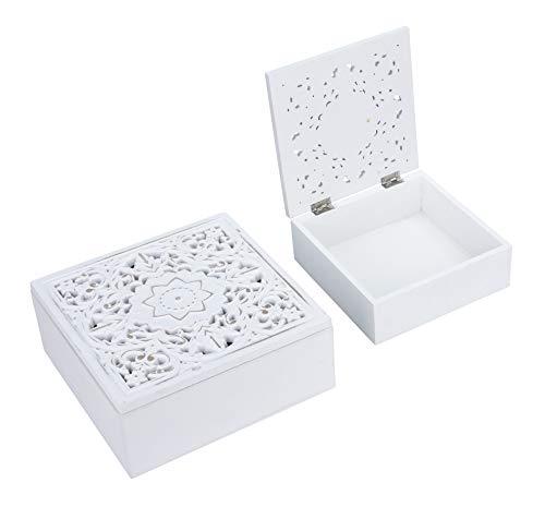 Meinposten. Kiste Holzkiste mit Deckel Holz Kästchen Ornament Holzkasten Shabby Boho weiß (Kleine & Große Kiste)