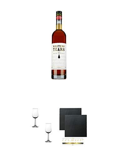 Writers Tears Pot Still Blend Irish Whiskey 0,7 Liter + Nosing Gläser Kelchglas Bugatti mit Eichstrich 2cl und 4cl - 2 Stück + Schiefer Glasuntersetzer eckig ca. 9,5 cm Ø 2 Stück
