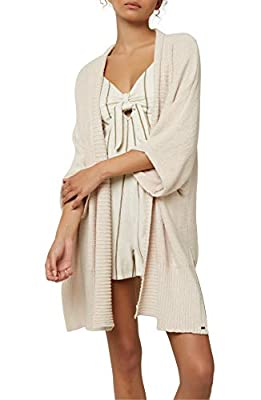 O'NEILL Women's Open Front Long Length Short Sleeve Cardigan Sweater (Oatmeal Heather/Crescent Bay, M) from O'NEILL